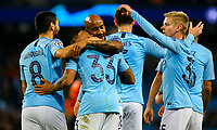 Manchester City's Gabriel Jesus celebrates scoring his side's sixth goal, his third, with Fabian Delph and Oleksandr Zinchenko<br /> <br /> Photographer Alex Dodd/CameraSport<br /> <br /> UEFA Champions League Group F - Manchester City v Shakhtar Donetsk - Wednesday 7th November 2018 - City of Manchester Stadium - Manchester<br />  <br /> World Copyright &copy; 2018 CameraSport. All rights reserved. 43 Linden Ave. Countesthorpe. Leicester. England. LE8 5PG - Tel: +44 (0) 116 277 4147 - admin@camerasport.com - www.camerasport.com