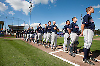 14 September 2009: Team Great Britain stands during the national anthem prior to the 2009 Baseball World Cup Group F second round match game won 15-5 by South Korea over Great Britain, in the Dutch city of Amsterdan, Netherlands.