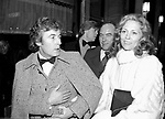 FAYE DUNAWAY and her Husband TERRY O'NEILL leaving The Helen Hayes Theatre in New York City. January 1982