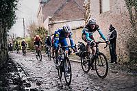 Dorian GODON (FRA/AG2R-LaMondiale) charging over the roughest (and wet!) cobbles next to Davide MARTINELLI (ITA/Deceuninck-Quick Step)<br /> <br /> 51th Le Samyn 2019 <br /> Quaregnon to Dour (BEL): 200km<br /> <br /> ©kramon