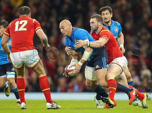 19.03.2016. Principality Stadium, Cardiff, Wales. RBS Six Nations Championships. Wales versus Italy. Italy's Sergio Parisse gets tackled by Wales George North