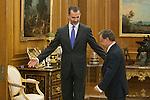 King Felipe VI of Spain receives Juan Jesus Vivas, President and Mayor of Ceuta, during an official meeting at Zarzuela Palace in Madrid, Spain. July 21, 2015. (ALTERPHOTOS/Victor Blanco)