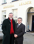 Sinn Fein President Gerry Adams outside the Drogheda Leader Office with Arthur Morgan after announcing he is to seek his party's nomination in the Louth constituency for the next general election...(Photo credit should read Jenny Matthews www.newsfile.ie)....This Picture has been sent you under the condtions enclosed by:.Newsfile Ltd..The Studio,.Millmount Abbey,.Drogheda,.Co Meath..Ireland..Tel: +353(0)41-9871240.Fax: +353(0)41-9871260.GSM: +353(0)86-2500958.email: pictures@newsfile.ie.www.newsfile.ie.