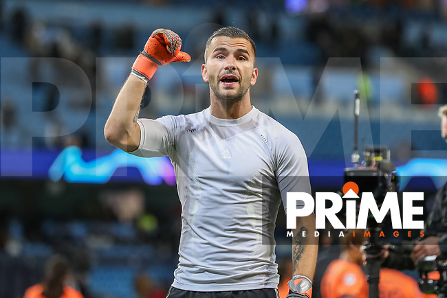 Goalkeeper Anthony LOPES of Olympique Lyonnais celebrates at the final whistle during the UEFA Champions League match between Manchester City and Olympique Lyonnais at the Etihad Stadium, Manchester, England on 19 September 2018. Photo by David Horn / PRiME Media Images.