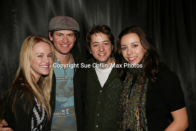 GH - Julie Berman & hubby Michael and Bradford Anderson & girlfriend Kiera pose at the Brokerage Comedy Club on February 21, 2009 in Bellmore, New York to see their fans as they sign and pose for photos, do a show for the fans and Bradford plays Simon Says with his fans. ALSO Bradford sang for all and he was great. (Photo by Sue Coflin/Max Photos)