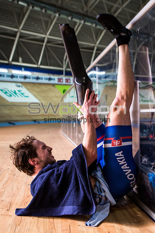 Picture by Alex Whitehead/SWpix.com - 19/03/2016 - Cycling - 2016 UCI Para-cycling Track World Championships, Day 3 - Velodromo Montichiari, Lombardy, Italy - Slovakia's Josef Metelka screams in pain after winning Gold in the Men's C4 4km Pursuit Final.