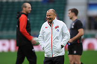 Eddie Jones, England Head Coach, with Steve Borthwick, England Assistant Coach and George Ford of England during the Old Mutual Wealth Series match between England and Argentina at Twickenham Stadium on Saturday 11th November 2017 (Photo by Rob Munro/Stewart Communications)