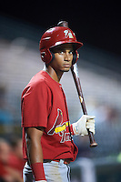 Palm Beach Cardinals center fielder Oscar Mercado (21) on deck during a game against the Bradenton Marauders on August 8, 2016 at McKechnie Field in Bradenton, Florida.  Bradenton defeated Palm Beach 5-4 in 11 innings.  (Mike Janes/Four Seam Images)