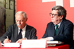 Spanish writer Eduardo Mendoza (l) deliverys his legacy to the Caja de las Letras -The Letter Box in presence of the Instituto Cervantes' Director Juan Manuel Bonet. April 21,2017. (ALTERPHOTOS/Acero)