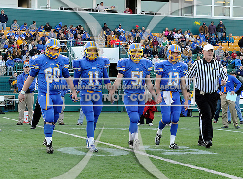 Alden Bulldogs varsity football against the Maine-Endwell Spartans during the NYSPSHAA Class-B Central-Western Semi-Finals at Sahlen's Stadium on November 17, 2012 in Rochester, New York. Maine-Endwell defeated Alden 49-14 to advance to the state championship game. (Copyright Mike Janes Photography)