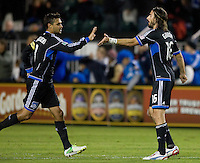 Chris Wondolowski of Earthquakes gives high fives with Alan Gordon after scoring a goal during the game against LA Galaxy at Buck Shaw Stadium in Santa Clara, California on November 7th, 2012.   LA Galaxy defeated San Jose Earthquakes, 3-1.