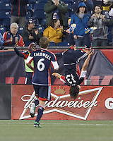 New England Revolution midfielder Ryan Guy (13) celebrates his goal. In a Major League Soccer (MLS) match, Real Salt Lake (white)defeated the New England Revolution (blue), 2-1, at Gillette Stadium on May 8, 2013.