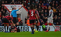 Liverpool's Fabinho is shown a yellow card by Referee Lee Mason <br /> <br /> Photographer David Horton/CameraSport<br /> <br /> The Premier League - Bournemouth v Liverpool - Saturday 8th December 2018 - Vitality Stadium - Bournemouth<br /> <br /> World Copyright © 2018 CameraSport. All rights reserved. 43 Linden Ave. Countesthorpe. Leicester. England. LE8 5PG - Tel: +44 (0) 116 277 4147 - admin@camerasport.com - www.camerasport.com