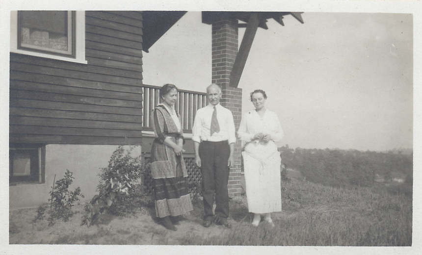Title: Sarah Crone, John Voegtly, and woman at Sarah's bungalow<br /> Type: Photo<br /> Cat #: 030b.(middle)<br /> File Name: 30b_2of3.jpg<br /> Formats: original object