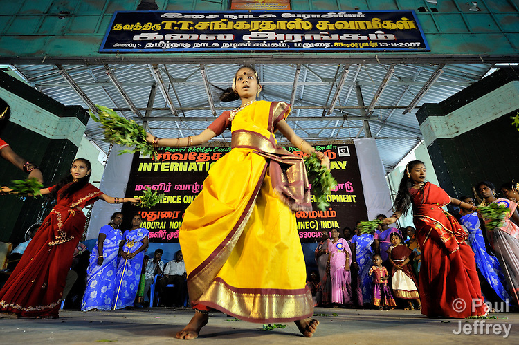 Dancers in a rally celebrating International Women's Day in Madurai, a city in Tamil Nadu state in southern India.