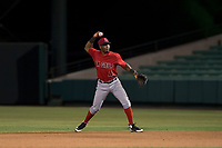 AZL Angels second baseman Jose Verrier (4) prepares to make a throw to first base during an Arizona League game against the AZL Indians 2 at Tempe Diablo Stadium on June 30, 2018 in Tempe, Arizona. The AZL Indians 2 defeated the AZL Angels by a score of 13-8. (Zachary Lucy/Four Seam Images)