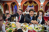 Russian and German gas executives welcome visitors to their base in Arctic Siberia, Russia. <br /> <br /> With energy prices tumbling and Russia losing popularity with Europe, oil and gas companies are struggling to bring in new investments.