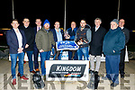 ' Toolmaker Daddy ' won the Juvenile Classic Final, sponsored by GMHD.ie insurance for the 9th year, last Friday night at Kingdom Greyhound Stadium, Tralee, with Dave Mahony, centre Rt receiving the trophy on behalf of the Scottish owner from Denis Murphy of GMHD, Centre Lt.