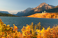 Prince of Wales Hotel from Middle Waterton Lake, during the Fall, Waterton Lakes National Park, Alberta, Canada.