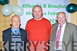 John Nagle centre with the two oldest members of the Killorglin and Beaufort Macra na Feírme Donie Connor Killorglin left and Timothy O'Sullivan Beaufort at the Macra reunion in the Manor Inn Killorglin on Saturday night