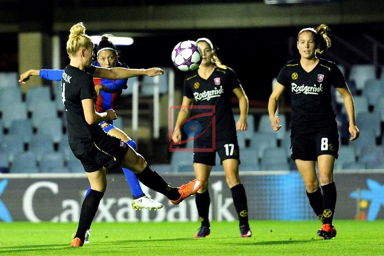 UEFA Women's Champions League 2016/2017.<br /> Round of 16 - First Leg<br /> FC Barcelona vs Twente: 1-0.<br /> Jennifer Hermoso vs Kerkdijk.