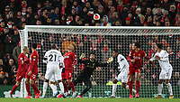 24th February 2020; Anfield, Liverpool, Merseyside, England; English Premier League Football, Liverpool versus West Ham United; Angelo Ogbonna of West Ham United shoots at goal but sees his effort fly high of the crossbar