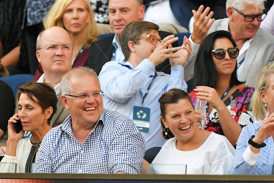 January 20, 2019: The Australian Prime Minister Scott Morrison at a match between 3rd seed Roger Federer of Switzerland and 14th seed Stefanos Tsitsipas of Greece in the fourth round on day seven of the 2019 Australian Open Grand Slam tennis tournament in Melbourne, Australia. Photo Sydney Low