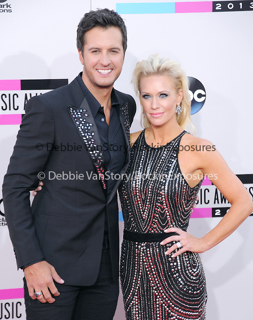 LOS ANGELES, CA - NOVEMBER 24: Luke Bryan and wife arrives at   The 2013 American Music Awards held at Nokia Live in Los Angeles, California on November 24,2013                                                                               © 2013 Hollywood Press Agency