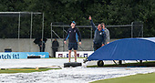 Cricket Scotland - Scotland V Namibia World Cricket League One-Day match today (Sun) at Grange CC - Grange groundsman Kevin Allen points out where the rain is coming from - this match is the first of two WCL games this week against Namibia on the same ground - picture by Donald MacLeod - 11.06.2017 - 07702 319 738 - clanmacleod@btinternet.com - www.donald-macleod.com