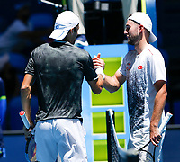 5th January 2020; RAC Arena, Perth, Western Australia; ATP Cup Australia, Perth, Day 3; Italy versus Norway; Stefano Travaglia of Italy shakes hands with Viktor Durasovic of Norway after defeating him 2 sets to love - Editorial Use