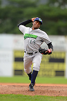 Jamestown Jammers pitcher Isaac Sanchez #14 during a game against the Batavia Muckdogs on June 27, 2013 at Dwyer Stadium in Batavia, New York.  The game was postponed in the 4th inning due to rain.  (Mike Janes/Four Seam Images)