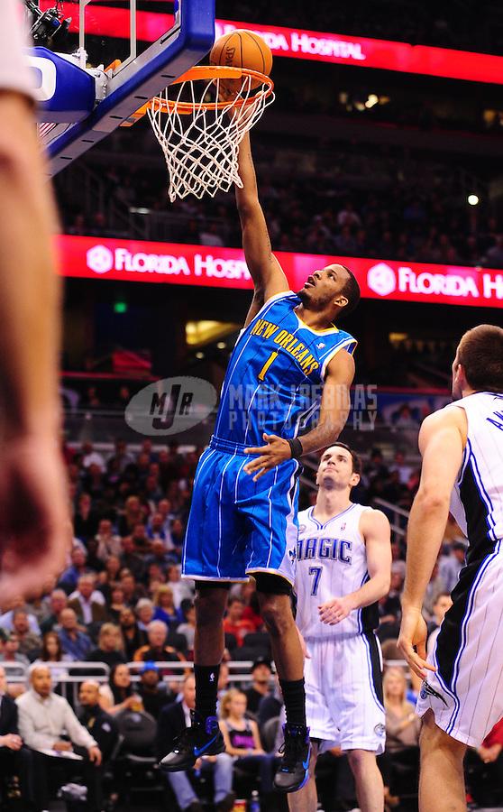Feb. 11, 2011; Orlando, FL, USA; New Orleans Hornets forward (1) Trevor Ariza against the Orlando Magic at the Amway Center. The Hornets defeated the Magic 99-93. Mandatory Credit: Mark J. Rebilas-