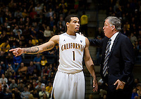 Justin Cobbs of California talks with California head coach Mike Montgomery during the game against Creighton at Haas Pavilion in Berkeley, California on December 15th, 2012.   Creighton defeated California, 74-64.