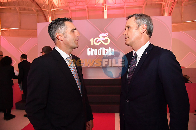 Former Multiple Grand Tour Champion Miguel Indurain at the 100th edition Giro d`Italia 2017 route presentation held at the Ice Palace in Milan, 25th October 2016.<br /> Picture: ANSA/Luca Zennaro | Newsfile<br /> <br /> <br /> All photos usage must carry mandatory copyright credit (&copy; Newsfile | ANSA/Luca Zennaro)