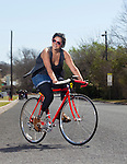 Jamie Schanbaum rides her custom built bike on Saturday, March 12, 2011 in Austin, Texas. Schanbaum, 22, survived meningitis after losing her legs and fingers to the disease two years ago. She is presently enrolled at the University of Texas at Austin and has fought to put a bill in place that would require all freshman at Texas colleges in dormitories get the meningitis vaccine...