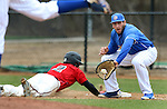 BROOKINGS, SD - MAY 4:  Aaron Machbitz #33 from South Dakota State catches the pick off attempt as Daniel Jewett #2 from Nebraska Omaha dives back to first in the fifth inning Sunday afternoon at Erv Huether Field in Brookings. (Photo by Dave Eggen/Inertia)