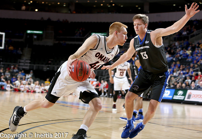 SIOUX FALLS, SD: MARCH 5: Mitch Hahn #44 from Omaha looks to get a step past Jax Levitch #13 from Fort Wayne during the Summit League Basketball Championship on March 5, 2017 at the Denny Sanford Premier Center in Sioux Falls, SD. (Photo by Dave Eggen/Inertia)
