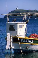 Europe/France/Corse/2B/Haute-Corse/Cap Corse/Barcaggio: Détail barque de pêcheur sur le port