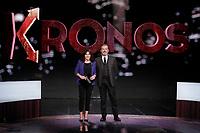 Annalisa Bruchi e Giancarlo Loquenzi<br /> Roma 12/01/2018. Trasmissione tv Rai 'Kronos'.<br /> Rome January 12th 2018. Silvio Berlusconi appears as a guest on the talk show 'Kronos' in Rome<br /> Foto Samantha Zucchi Insidefoto
