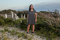 Dawn Taylor, vice president of the Hatteras Island Genealogical and Preservation Society at the Midgett-Salvo Cemetery in Salvo, NC on Thursday, June 29, 2017. (Justin Cook for The Guardian)
