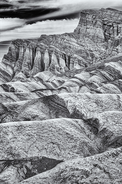 Black and white infrared image of the Red Cathedral from Death Valley's Zabriskie Point