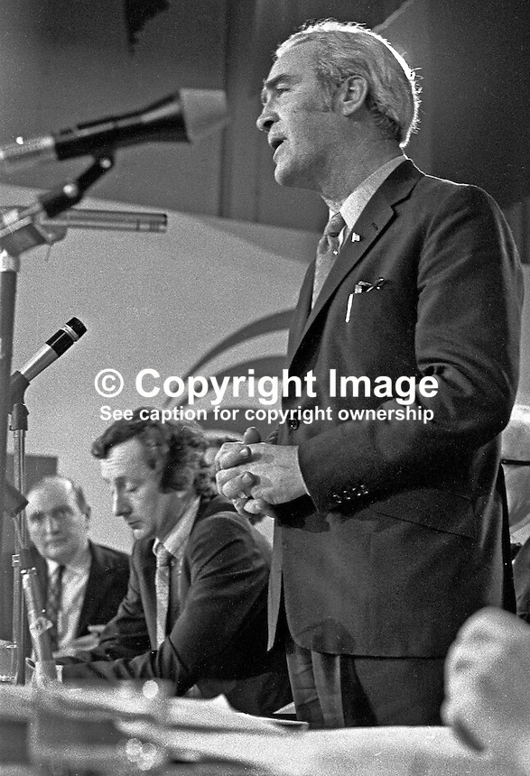 Brendan Corish, leader of the Irish Labour Party, Rep of Ireland, speaking at his party's annual conference. He was Tanaiste, Deputy Prime Minister, from 1973 to 1977 in the Fine Gael/Labour Party coalition. 197302000128b.<br /> <br /> Copyright Image from Victor Patterson, 54 Dorchester Park, Belfast, UK, BT9 6RJ<br /> <br /> t1: +44 28 9066 1296 (from Rep of Ireland 048 9066 1296)<br /> t2: +44 28 9002 2446 (from Rep of Ireland 048 9002 2446)<br /> m: +44 7802 353836<br /> <br /> e1: victorpatterson@me.com<br /> e2: victorpatterson@gmail.com<br /> <br /> The use of my copyright images is subject to my Terms &amp; Conditions.<br /> <br /> It is IMPORTANT that you familiarise yourself with them. They are available on my website at www.victorpatterson.com.<br /> <br /> None of my copyright images may be used on a website unless they are visibly watermarked, i.e. &copy; Victor Patterson within the body of the visible image. Metadata denoting my copyright must NOT be deleted. <br /> <br /> Web use (maximum size - 300 kb) is extra at currently recommended NUJ rates.
