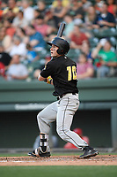 Center fielder Jarred Kelenic (10) of the West Virginia Power bats in a game against the Greenville Drive on Friday, May 17, 2019, at Fluor Field at the West End in Greenville, South Carolina. West Virginia won, 10-4. (Tom Priddy/Four Seam Images)
