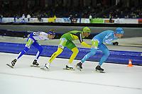 SCHAATSEN: HEERENVEEN: 25-10-2014, IJsstadion Thialf, Marathonschaatsen, Timo Verkaaik (#57), Crispijn Ariens (#88), Bob de Vries (#1), ©foto Martin de Jong