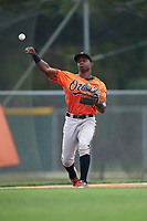 Baltimore Orioles Kirvin Moesquit (74) during a minor league Spring Training intrasquad game on April 2, 2016 at Buck O'Neil Complex in Sarasota, Florida.  (Mike Janes/Four Seam Images)
