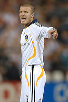 Los Angeles Galaxy midfielder David Beckham (23) screams at the referee after a call. DC United defeated the Los Angeles Galaxy 1-0 at RFK Stadium in Washington DC, Thursday August 9, 2007.