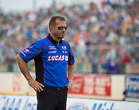 Sep 25, 2016; Madison, IL, USA; Crew member for NHRA top fuel driver Richie Crampton during the Midwest Nationals at Gateway Motorsports Park. Mandatory Credit: Mark J. Rebilas-USA TODAY Sports