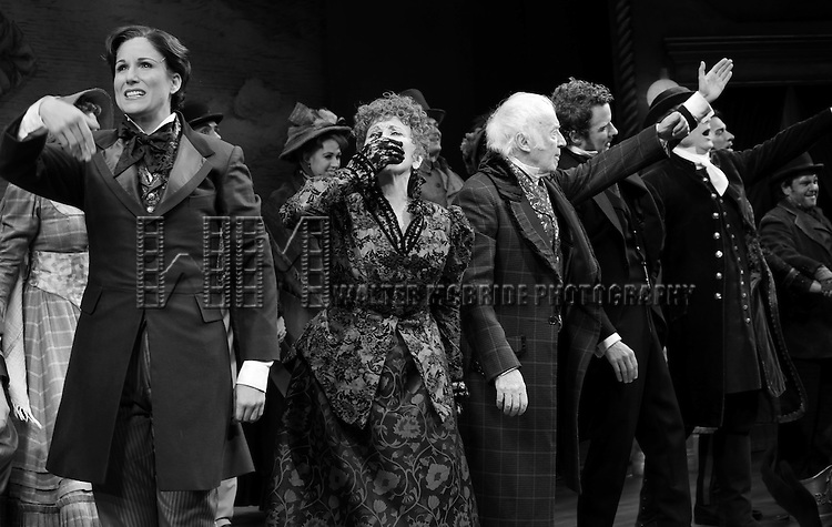 Stephanie J. Block, Chita Rivera, Jim Norton, Will Chase, Gregg Edelman, Andy Karl, Robert Creighton & Company during the Broadway Opening Night Performance Curtain Call for 'The Mystery of Edwin Drood' at Studio 54 in New York City on 11/13/2012