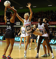 28.07.2015 Silver Ferns Malia Paseka and South Africa's Rochelle Lawson in action during the Silver Fern v South Africa netball test match played at Trusts Arena in Auckland. Mandatory Photo Credit ©Michael Bradley.