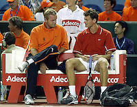 20030921, Zwolle, Davis Cup, NL-India, Dutch Bench with Schalken and coach Bogtstra